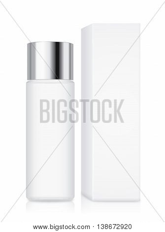 Cosmetic bottle with silver cap and white box in one set isolated on white background. Ideal for facial cleansing packaging and product mock up or other.