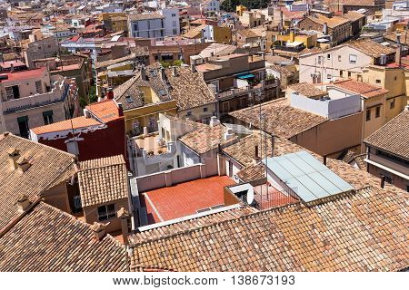 Valencia Old Town Roofs And Tiles, Spain