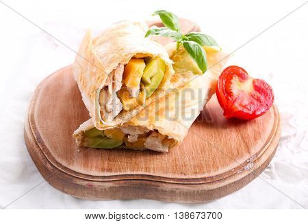 Wrap sandwich with chicken cheese and pepper