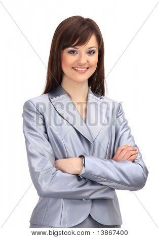 Mujer de negocios positivo sonriendo sobre fondo blanco