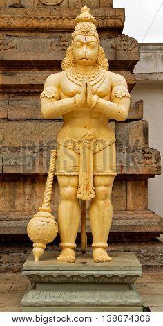 Standing Hanuman at entrance of ancient Vishnu temple at Rangasthala, Chikkaballapur, Karnataka captured on July 16th, 2016