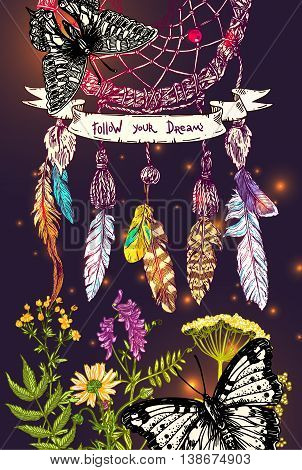 Beautiful hand drawn vector illustration sketching of dreamcatcher adn wildflowers. Boho style drawing.