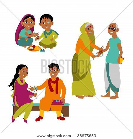 Brother and sister of all ages celebrate Raksha Bandhan tying Rakhi. Indian traditional holiday background. Vector eps 10 format.