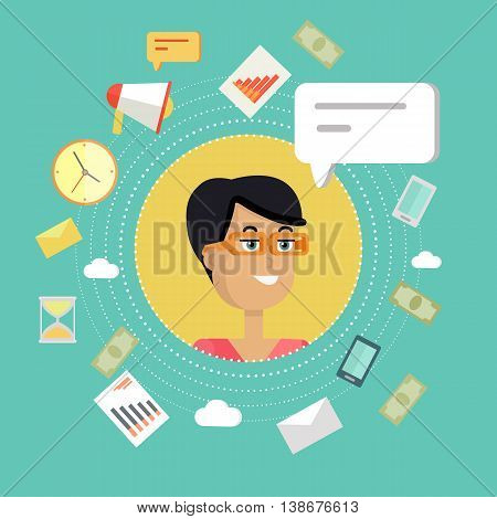 Creative office background. Businesswoman icon with bubble. Avatars of woman with devices for communication. Smiling young female personage in flat on green background. Vector illustration.