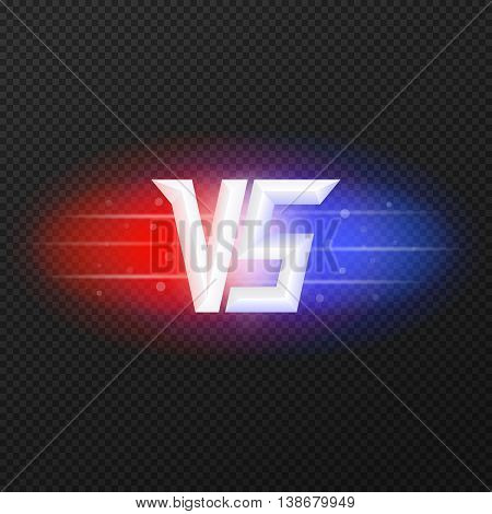 Versus isolated logo. Competition symbol VS. Red and blue lights. Vector, eps 10. poster