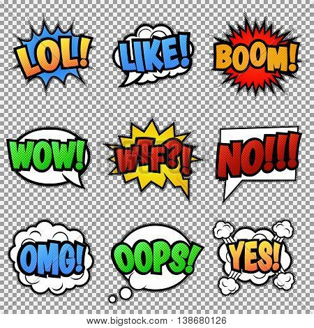 Set of nine different, colorful comic stickers. Pop art speech bubbles with LOL, LIKE, BOOM, WOW, WTF, NO, OMG, OOPS, YES Isolated vector eps 10