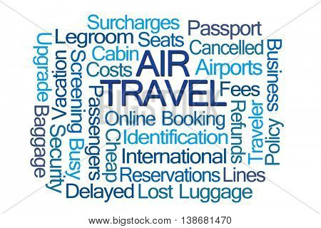 Air Travel Word Cloud on White Background