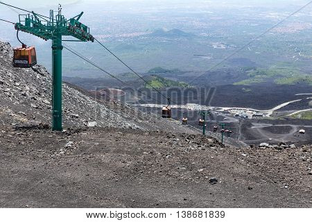 MOUNT ETNA ITALY - MAY 23: Cable car tot the top of Mount Etna on May 23 2016 at the island Sicily Italy