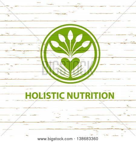 Vector Logo Detox Diet And Holistic Nutrition On Wood Background