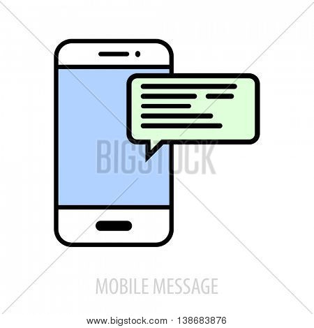 minimalistic illustration of a cell phone with text bubble, mobile messaging concept, eps10 vector