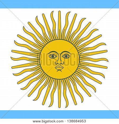 Argentina flag. Vector illustration of a flat design. Argentina Independence Day July 9.