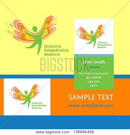Children Rehabilitation Medicine. Business Card And Vector Logo Depicting The Silhouette Of A Health
