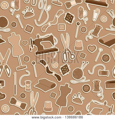 Seamless pattern on the theme of needlework and sewing simple stickers sepia