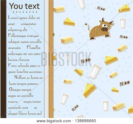 Card with cow, milk, cheese and butter. Vector illustration EPS10