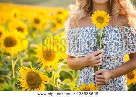 Portrait of the beautiful blonde girl in sunflower field