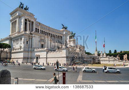 ROME, ITALY - july 3, 2016: Altar of the Fatherland (Altare della Patria) 1925. Piazza Venezia, Rome,