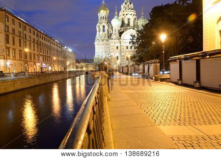 View of the Griboyedov Canal at night in St.Petersburg Russia.