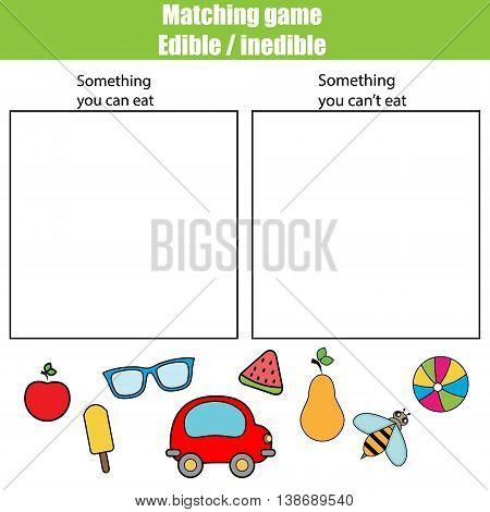 Edible inedible educational children game, printable kids activity sheet