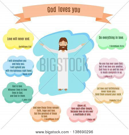 God loves you vector illustration. Smiling Jesus and Bible quotes with famous verses about love in speech bubbles. Study Bible theme labels stickers