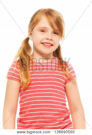 Close-up picture of beautiful blond seven years old girl with pig-tails, posing at the camera, isolated on white