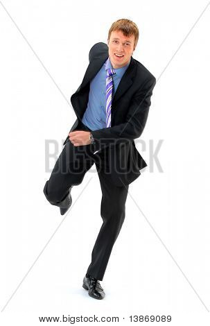 Business man running for success in his career - isolated over white
