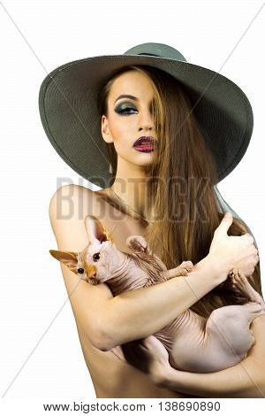 Sexy Naked Woman With Sphinx Cat