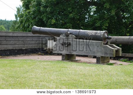 Old historic canon at Lacko castle in Sweden