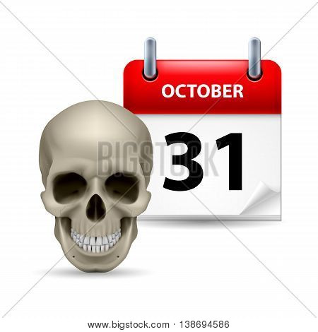 Halloween concept with grinning skull and calendar on 31th of October over white