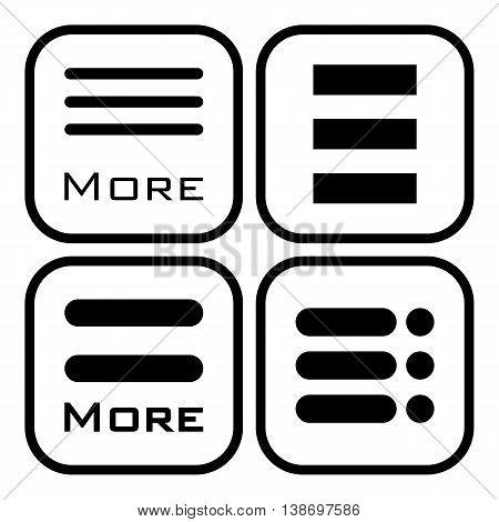 Hamburger menu icons set. Vector symbols collection isolated on white background.