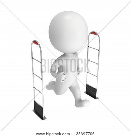 3D thief running through shoplifter scanner isolated on white background. Scanner entrance gate for prevent theft in shop or store. Security concept.