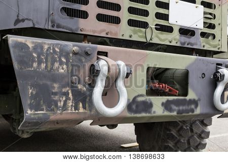 Military truck bumper close up with hooks