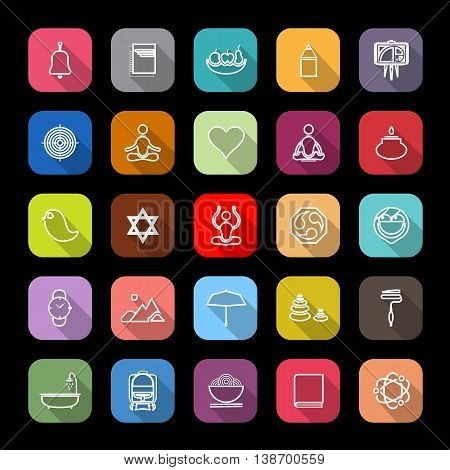 Zen society line icons with long shadow stock vector