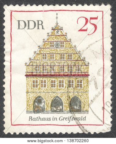 MOSCOW RUSSIA - JANUARY 2016: a post stamp printed in DDR shows a traditional German architecture the series