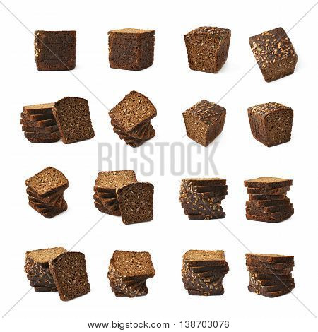 Set of multiple black bread images of different compositions and foreshortenings, set of multiple different foreshortenings