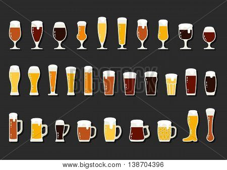 Set icons of beer with foam in mugs and glasses vector illustration