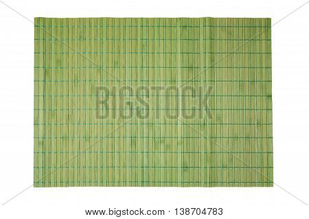 Bamboo place mat for spa and cosmetics background isolated on white. View from above