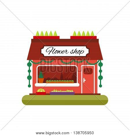 Flower shop in flat style - vector illustration stock. Infographic elements. Market icon with showcases isolated on white background. Store on the street.