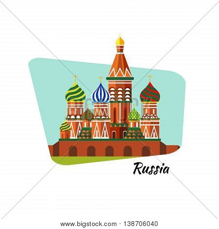 Welcome to Russia. St. Basil's Cathedral on Red square - stock flat illustration. Landscape design. Raster copy.