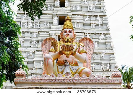 Sculptor of Garuda at entrance of ancient Vishnu temple at Rangasthala, Chikkaballapura, Karnataka captured on July 16th, 2016