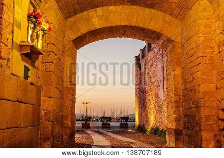 Alghero, Sardinia Island, Italy: Old Town in the beautiful sunset