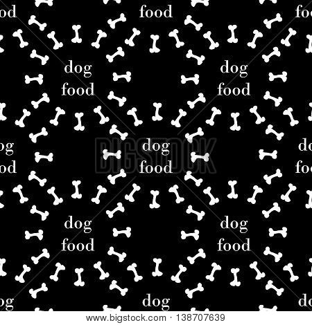 black seamless pattern with white bone for dog. vector