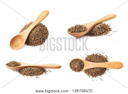 Wooden spoon over the pile of cumin seeds isolated over the white background, set of four different foreshortenings