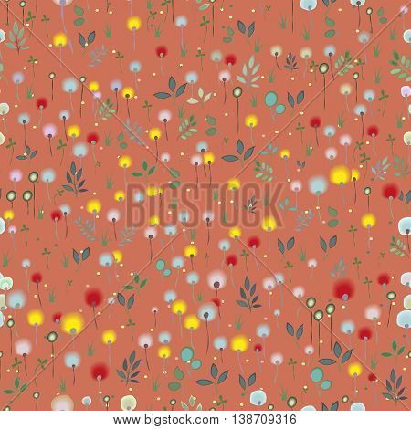 Blossoming Field. Floral Seamless Pattern. Watercolor flowers and plants with red background. Vector illustration