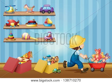 Boy playing with toys in the room