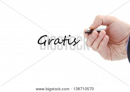 Gratis text concept isolated over white background
