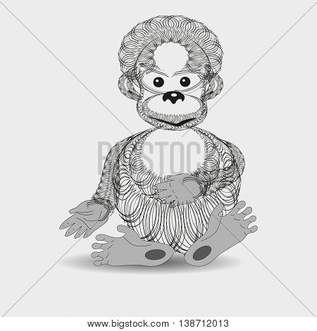 Vector illustration of baby orangutan graphics Drawing abstract black and white graphics baby orangutan on a light background