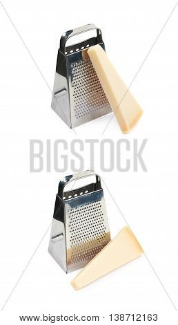 Grater and Parmigiano-Reggiano parmesan cheese composition isolated over the white background, set of two different foreshortenings