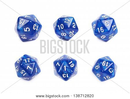 Blue roleplaying polyhedral icosahedron gaming plastic dice isolated over the white background, set of six different foreshortenings
