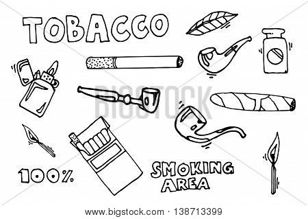 Smoking and tobacco icons vector. Cigarette tobacco, addiction smoking, cigar tobacco illustration