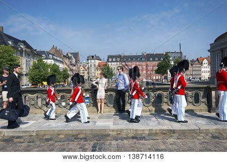 COPENHAGEN DENMARK - JUNE 23 2016 - Tivoli Youth Guard - music school for boys of age 8-16 walking outside Tivoli in Copenhagen June 23 2016.